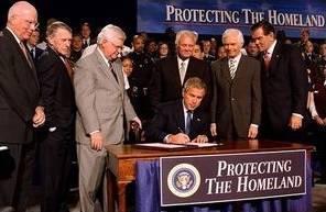 Bush signs Homeland Security Bill, Oct 1/03