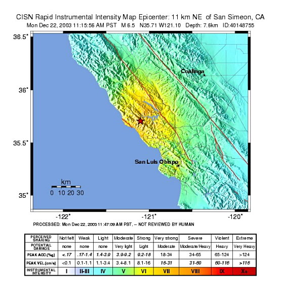 USGS Shaking map 12-22 Central CA earthquake