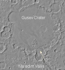 Gusev crater on Mars