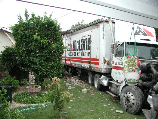 405 Truck into backyard Aug. 3