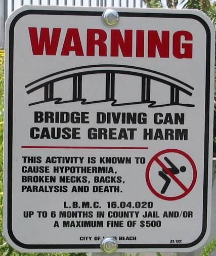 Bridge diving warning sign #2