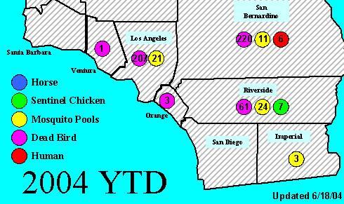 West Nile Virus map 6/18