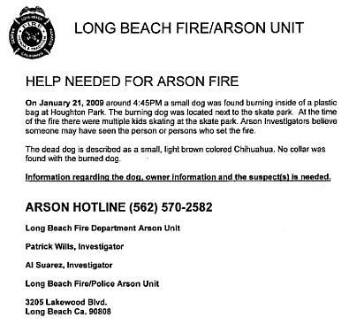 Arson fire w/ dog