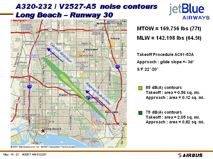 JetBlue Noise Doc, A320-232 noise contours, LGB runway 30