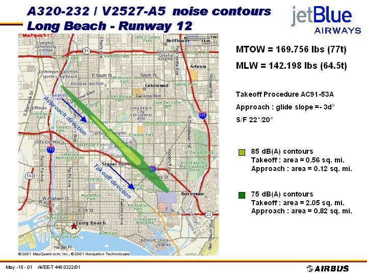 JetBlue Noise Doc. A320-232 noise contours, LGB runway 12