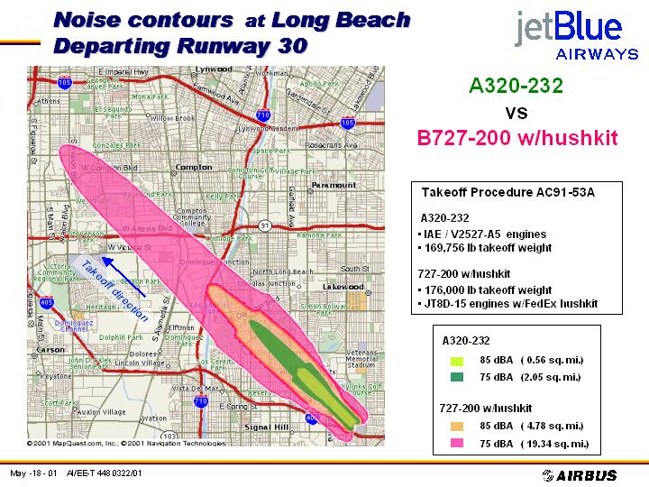 JetBlue contour comparison A320-232 v. 727 w/ hush kit