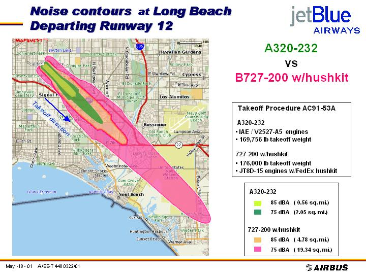 JetBlue Noise Doc, A320-232 vs. B727 (w/ hush kit), 85 dBa & 75 dBa contours, departing runway 12