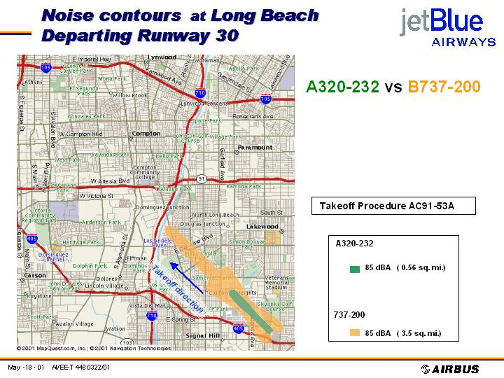 JetBlue Noise Doc, A320-232 vs. B727-200, 85 dBa & 75 dBa contours, departing runway 30