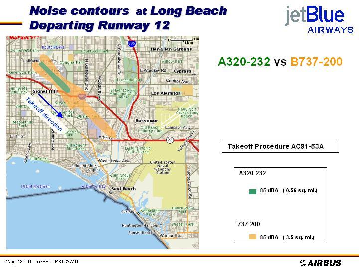 JetBlue Noise Doc, A320-232 vs. B727-200, 85 dBa & 75 dBa contours, departing runway 12