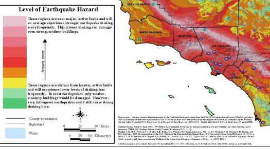 Seismic shaking map, So. Cal